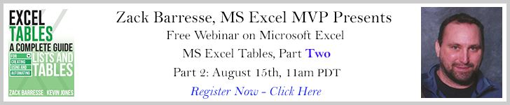 Zack Barresse presents MS Excel Tables