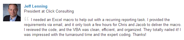 Testimonial on Jacob Hilderbrand, one of the top Excel programmers at VBAExpress, Inc.